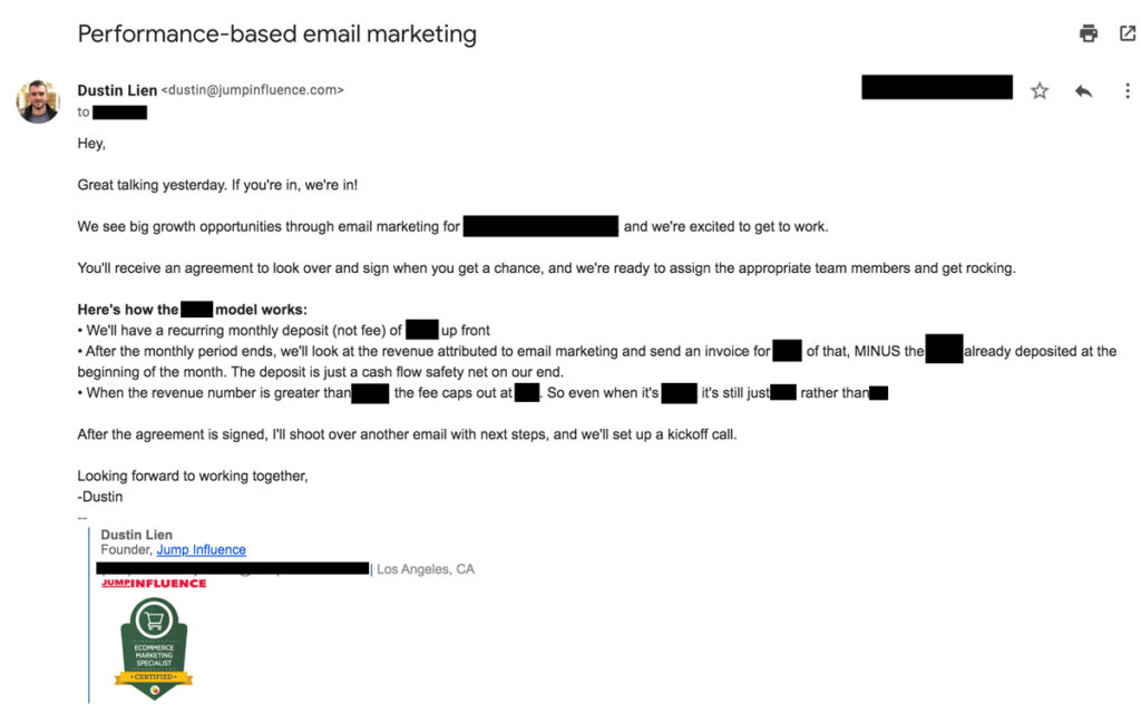 Pitch email