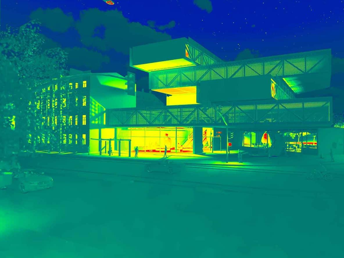 Model budynku widoczny w podczerwieni