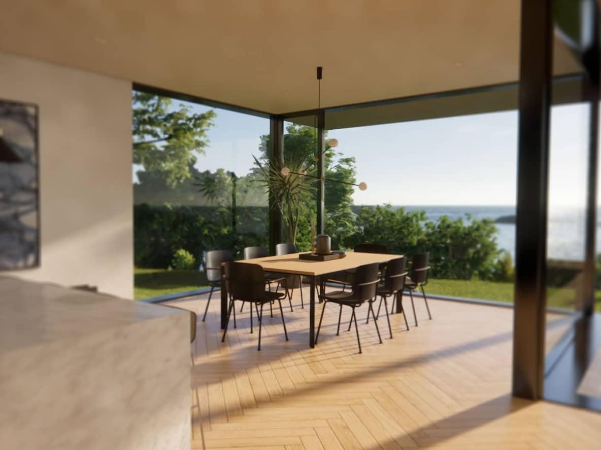 Kuchnia z panoramicznymi oknami z widokiem na zieleń i ocean