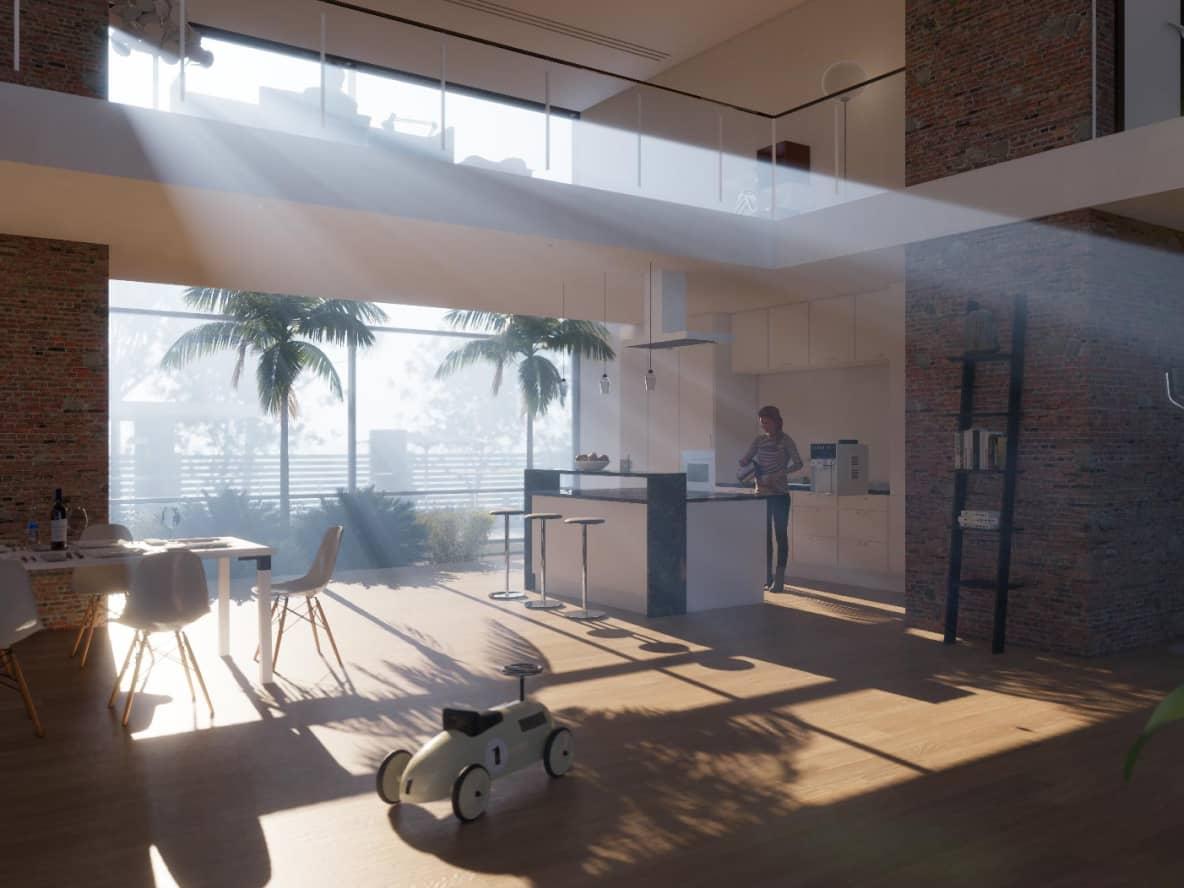 światło dzienne wpadające do przestrzeni mieszalnej z otwartą kuchnią i salonem