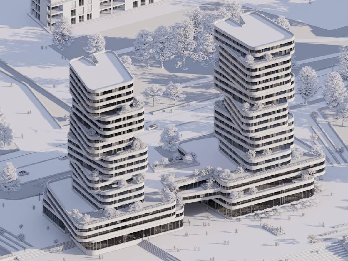 Nowoczesne białe wieżowce w zimowej scenerii