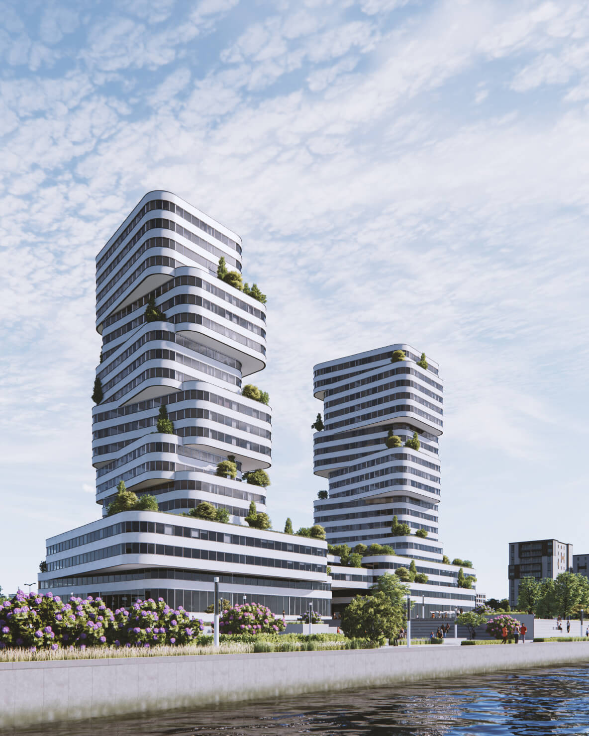 Nowoczesne wieżowce w przestrzeni miejskiej nad rzeką