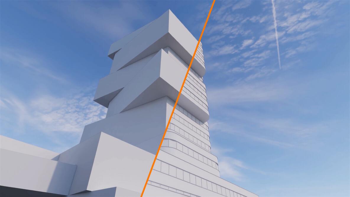 Przenikający się schemat projektu i gotowa wizualizacja budynku