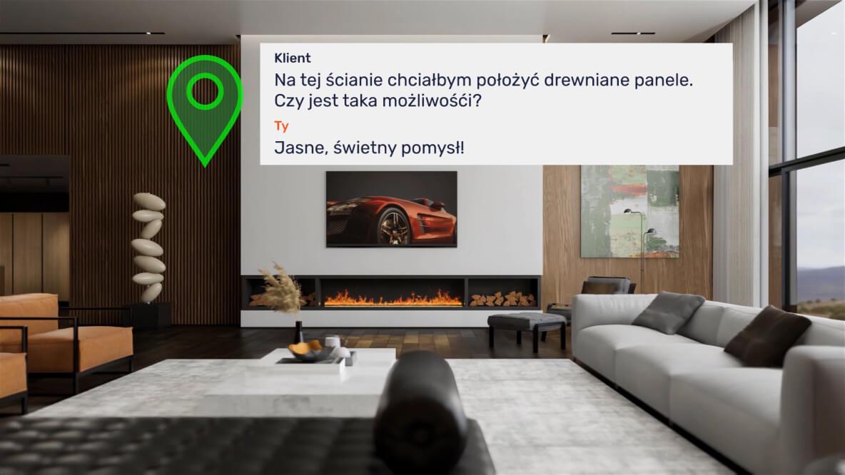 Nowoczesna przestrzeń mieszkalna z pytaniem klienta o zmianę tekstury na panele