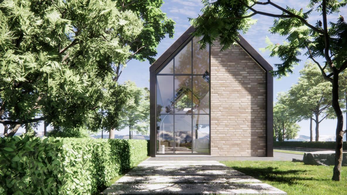 Projekt budynku w stylu nowoczesnej stodoly z otaczającą zielenią