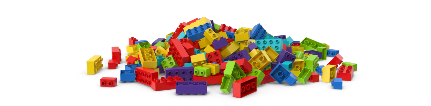 Pile of colourful plastic lego-like bricks