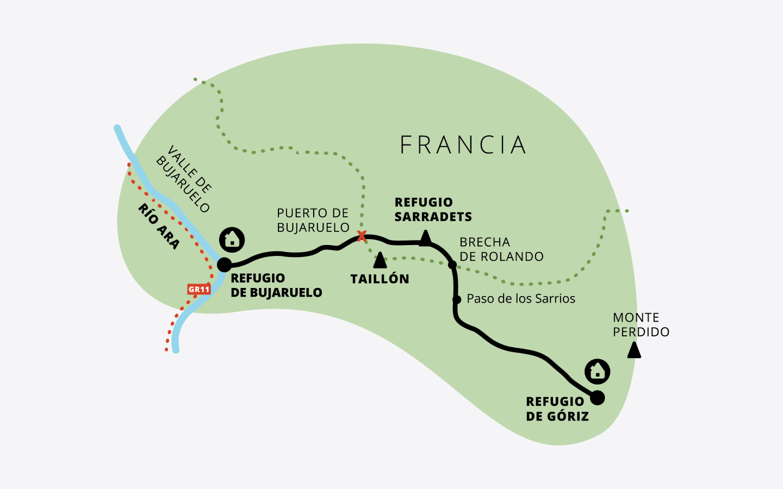 Mapa de la etapa 1 de la ruta Clásica