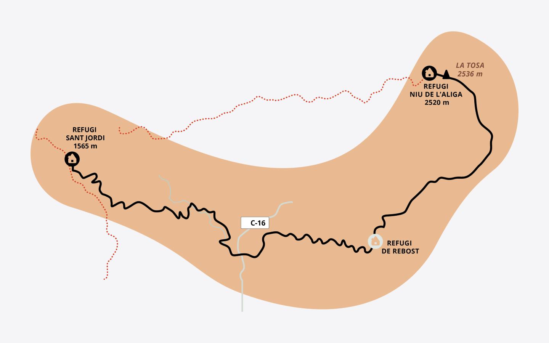 Mapa de la segunda etapa del Cadí