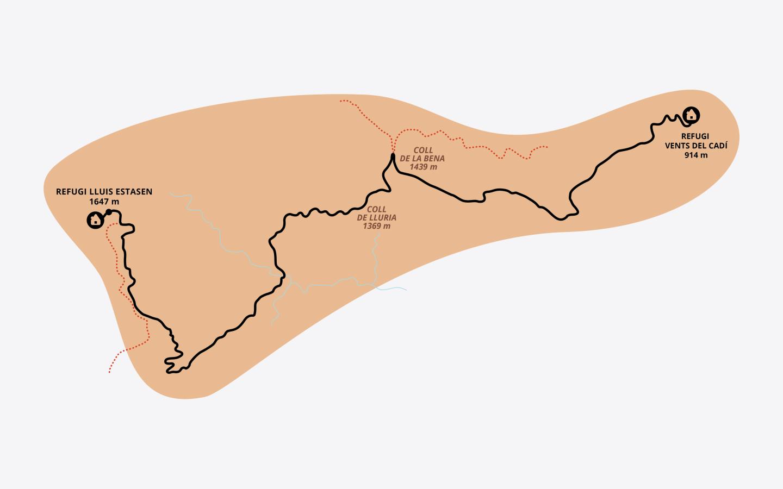 Mapa de la etapa 7 del Cadí