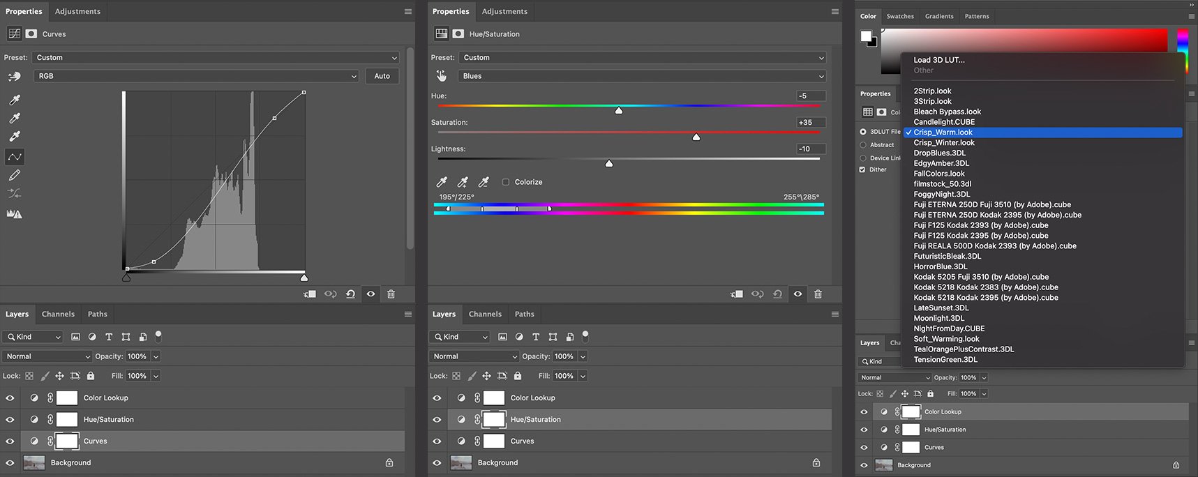 Photoshop Adjustment Layers for creating a 3D Color Lookup Effect