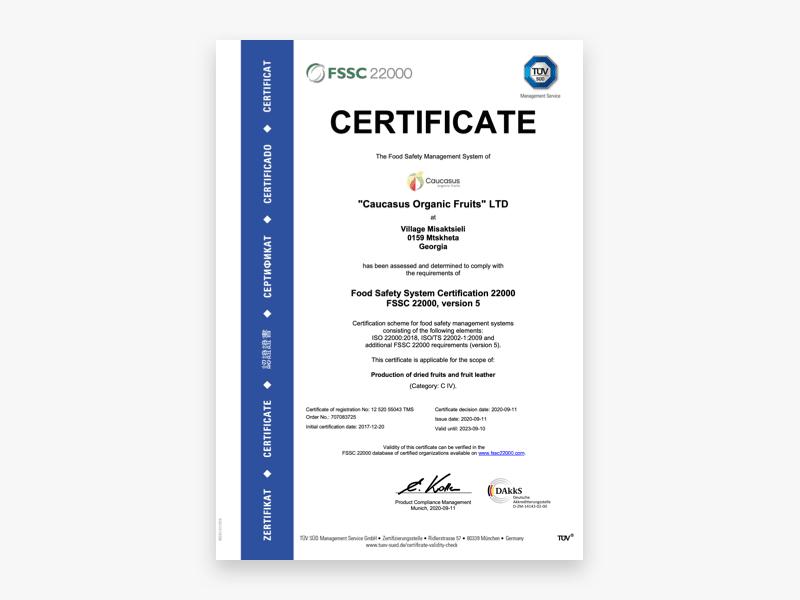 Caucasus Organic Fruits LTD FSSC 22000 Certificate