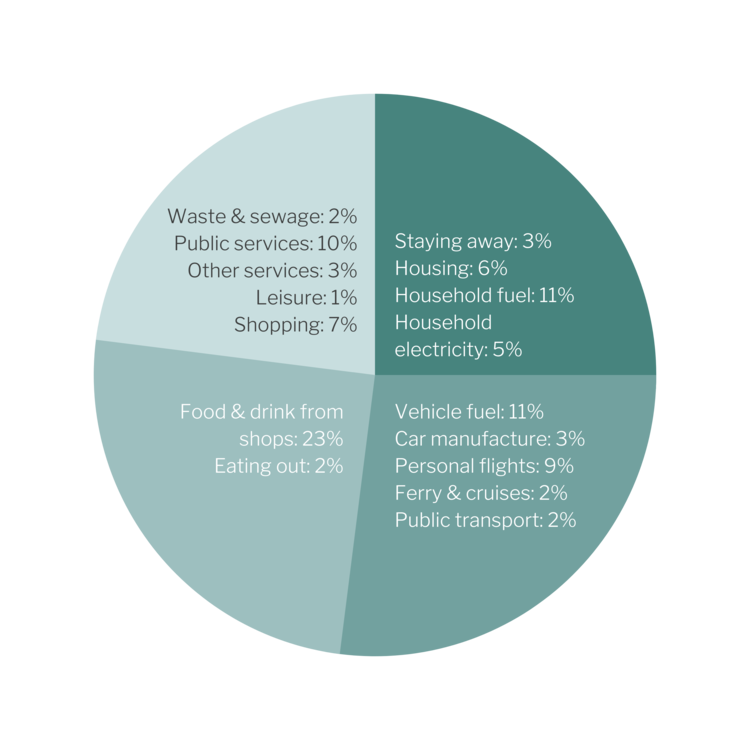 Pie chart splitting the carbon footprint of an average person in the UK into home, travel, diet and othert