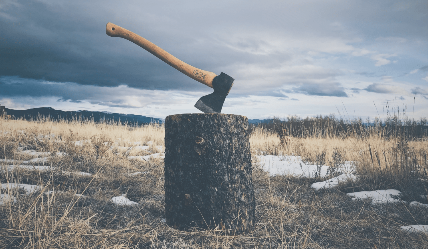 Wooden axe lodged in a tree stump in a snowy field surrounded by mountains