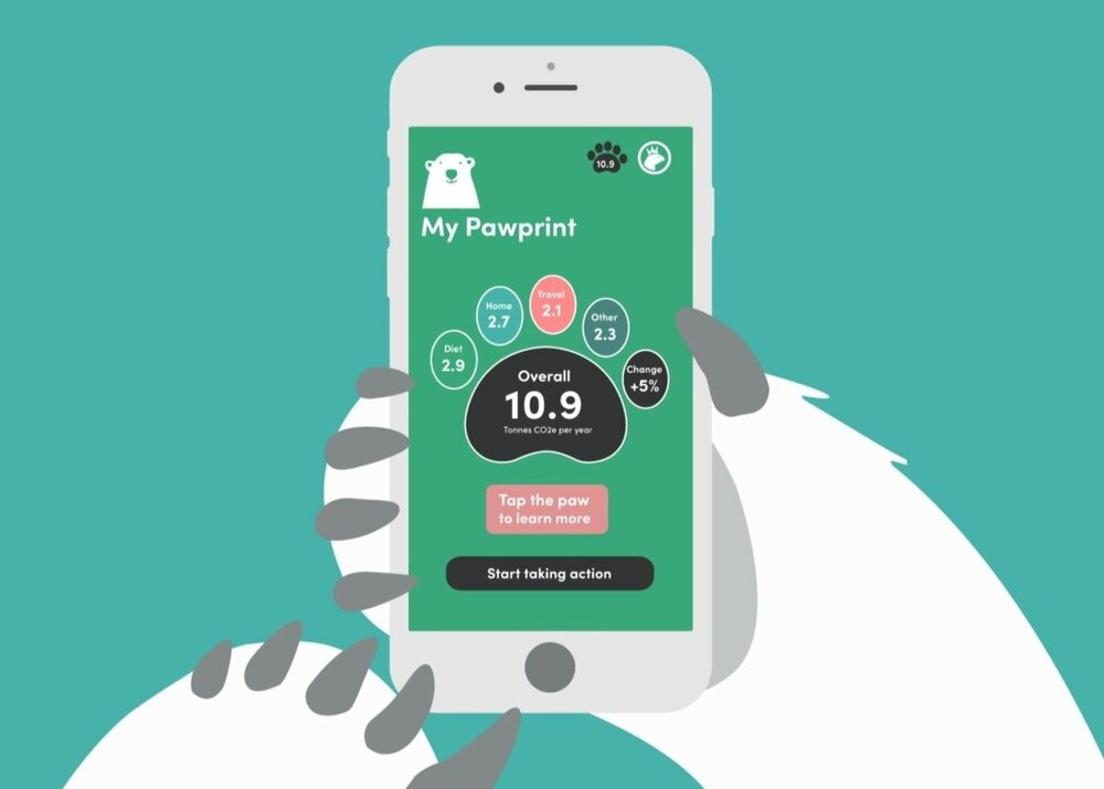 Illustration of polar bear paws holding a smartphone with the Pawprint dashboard on screen