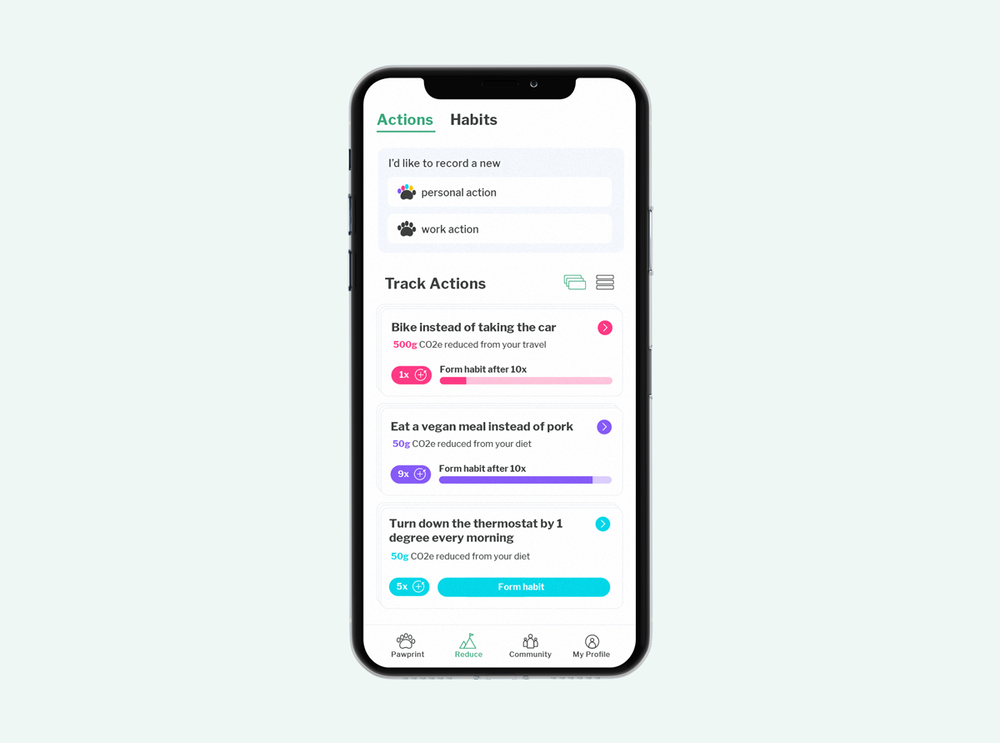 Smartphone with Pawprint's Actions & Habits dashboard on screen