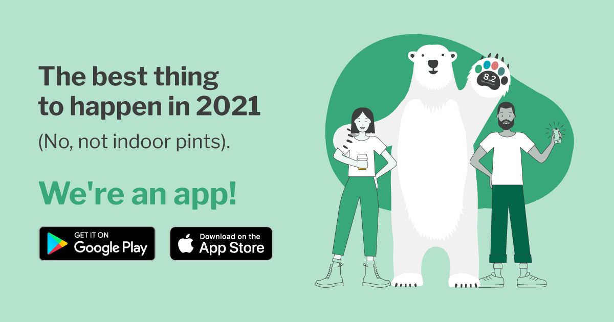 Illustration announcing Pawprint is available on the App Stores