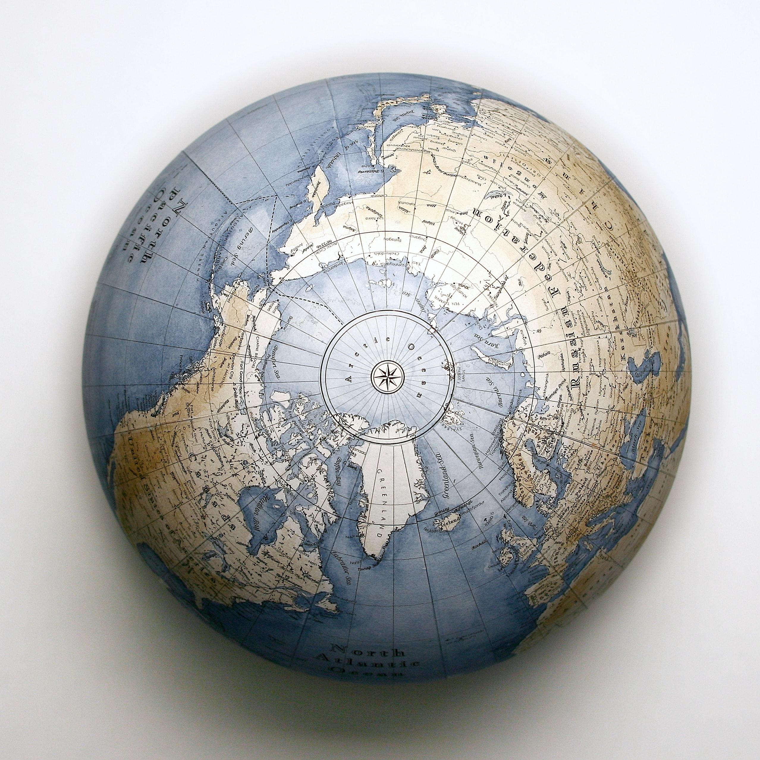 Birds eye view of a globe