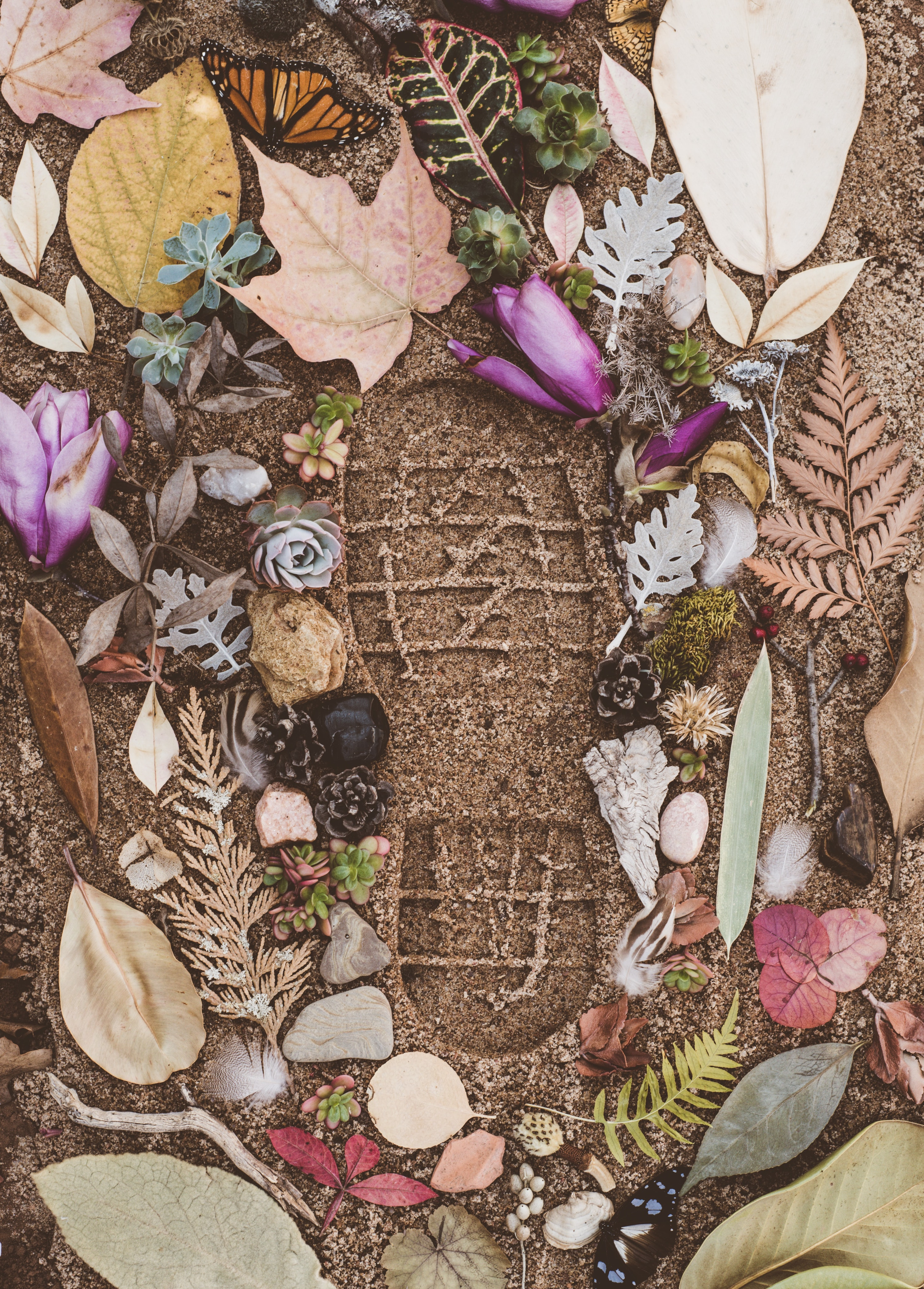 Close up of a footprint in sand, surrounded by autumn leaves