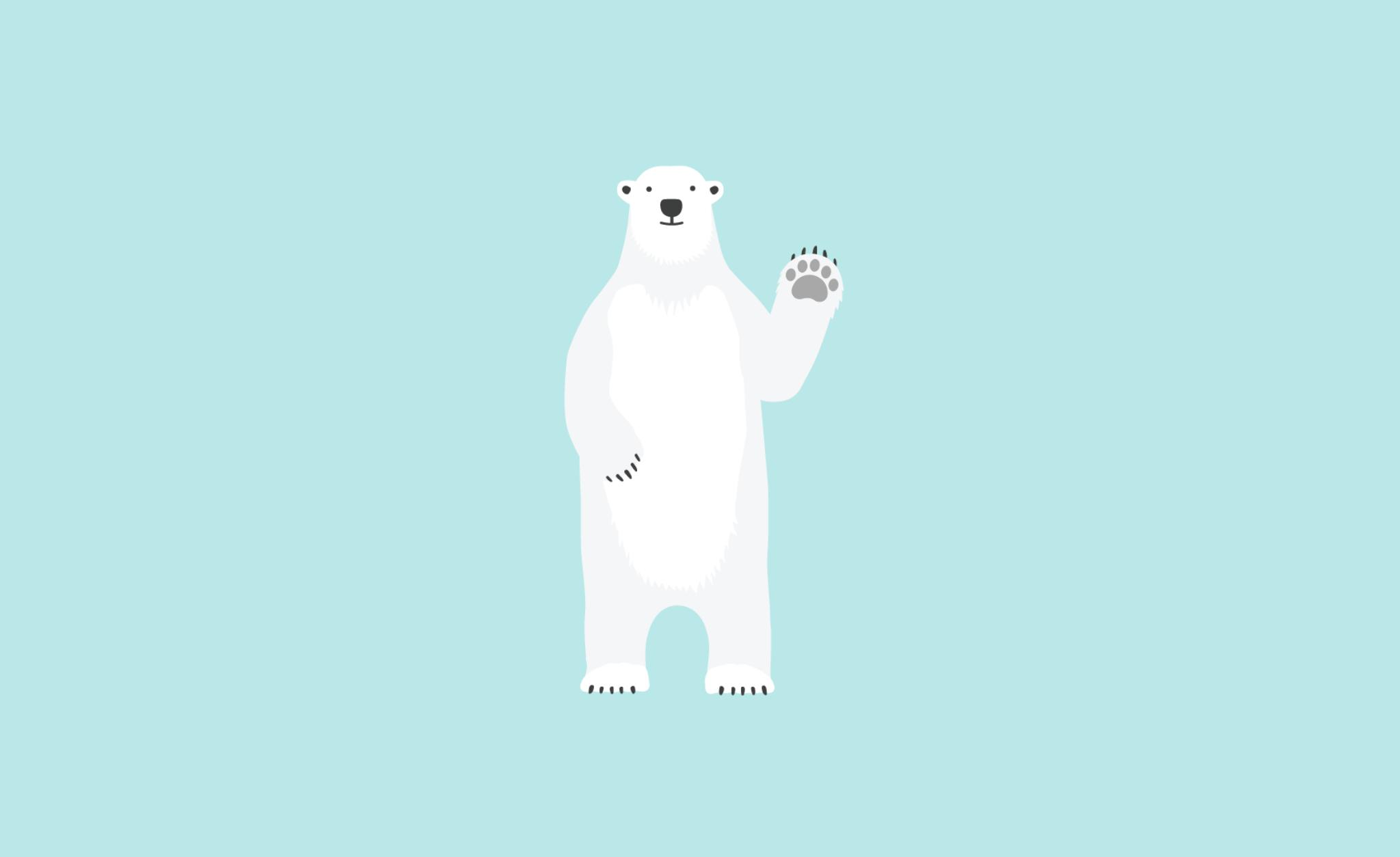 Full body illustration of Bjorn the Bear waving against a light blue background