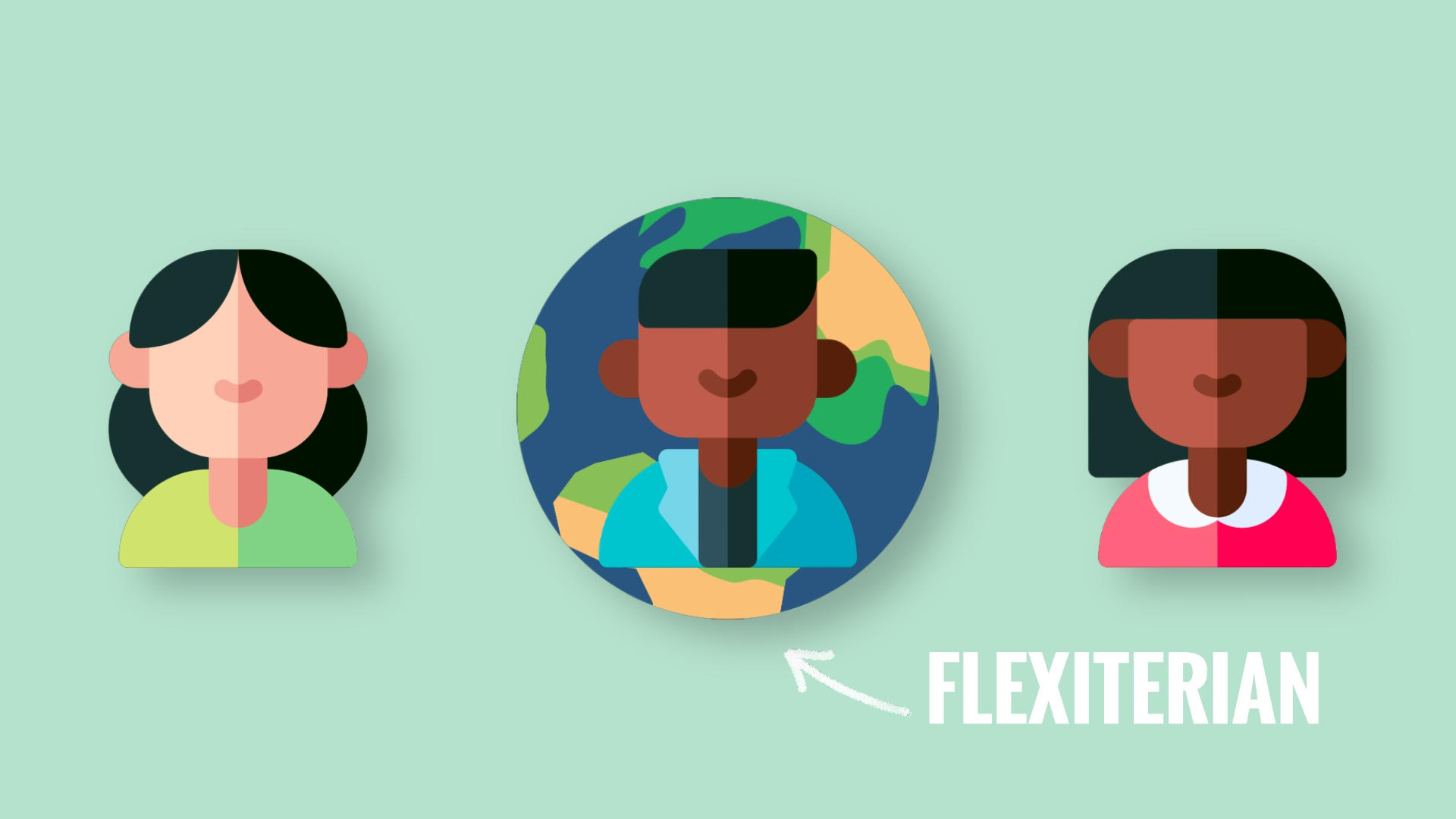 """Graphic of three people with """"Flexitarian"""" pointing at one"""