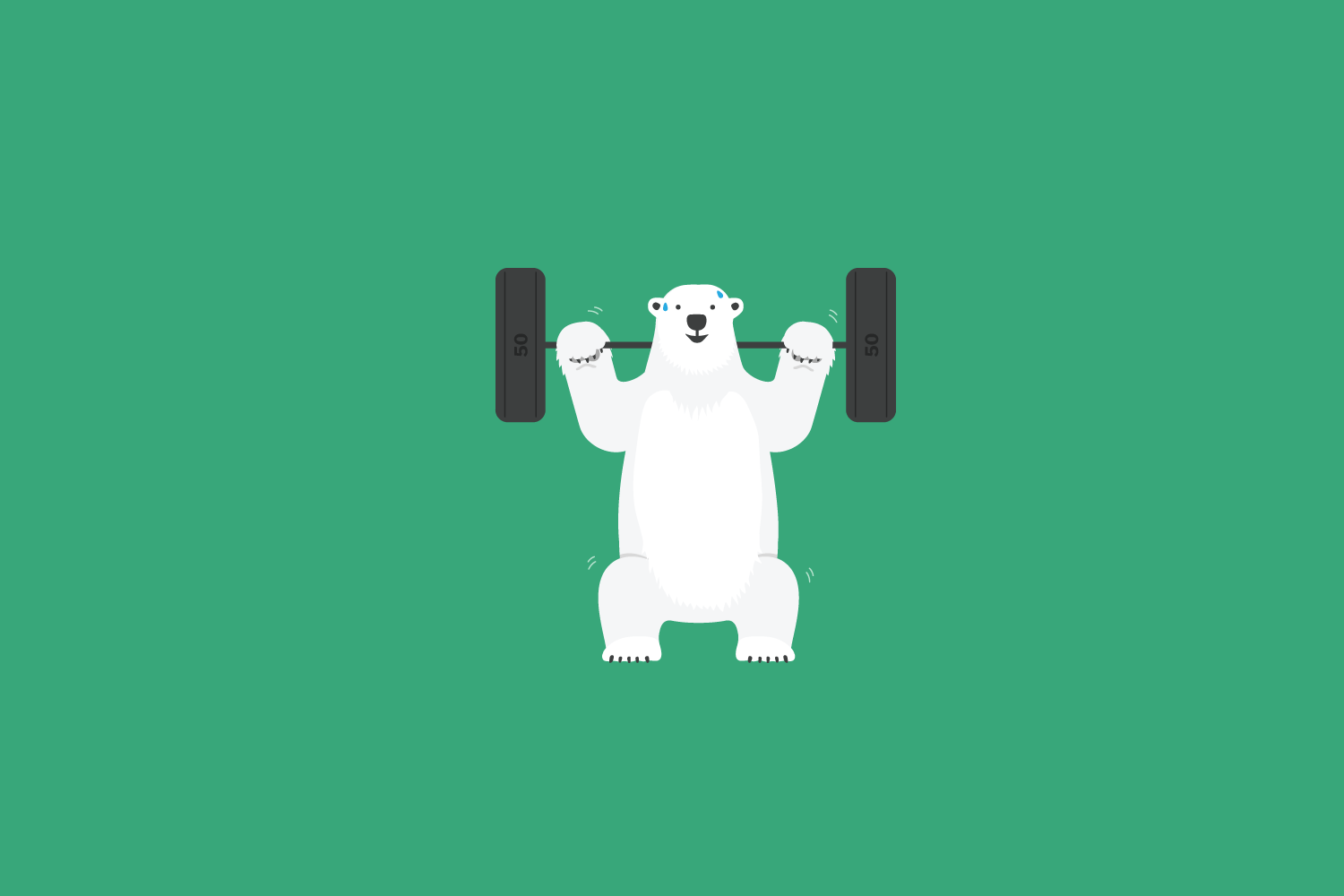 Illustrated polar bear squats with 100 tonne weights on shoulders