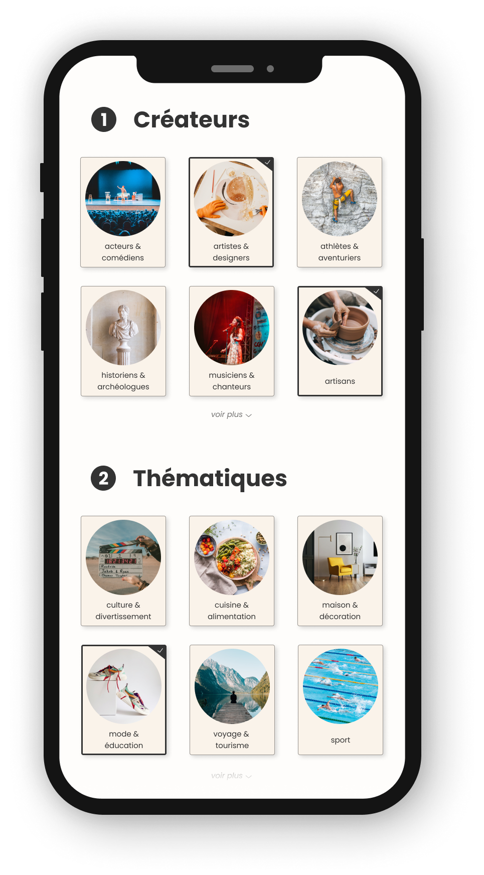 A mobile phone mockup showing options and themes available to users