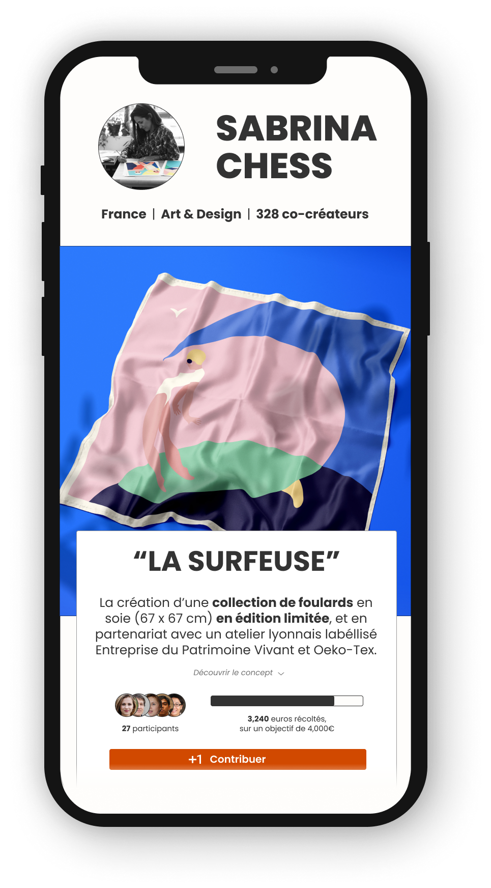 A mobile phone mockup showing an artist page