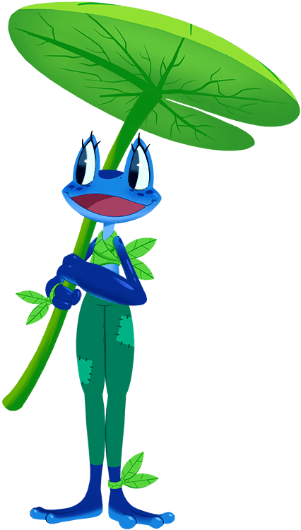 Our frog helper character
