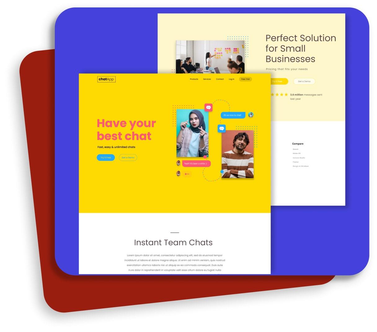 chat app website concept showcase thumbnail