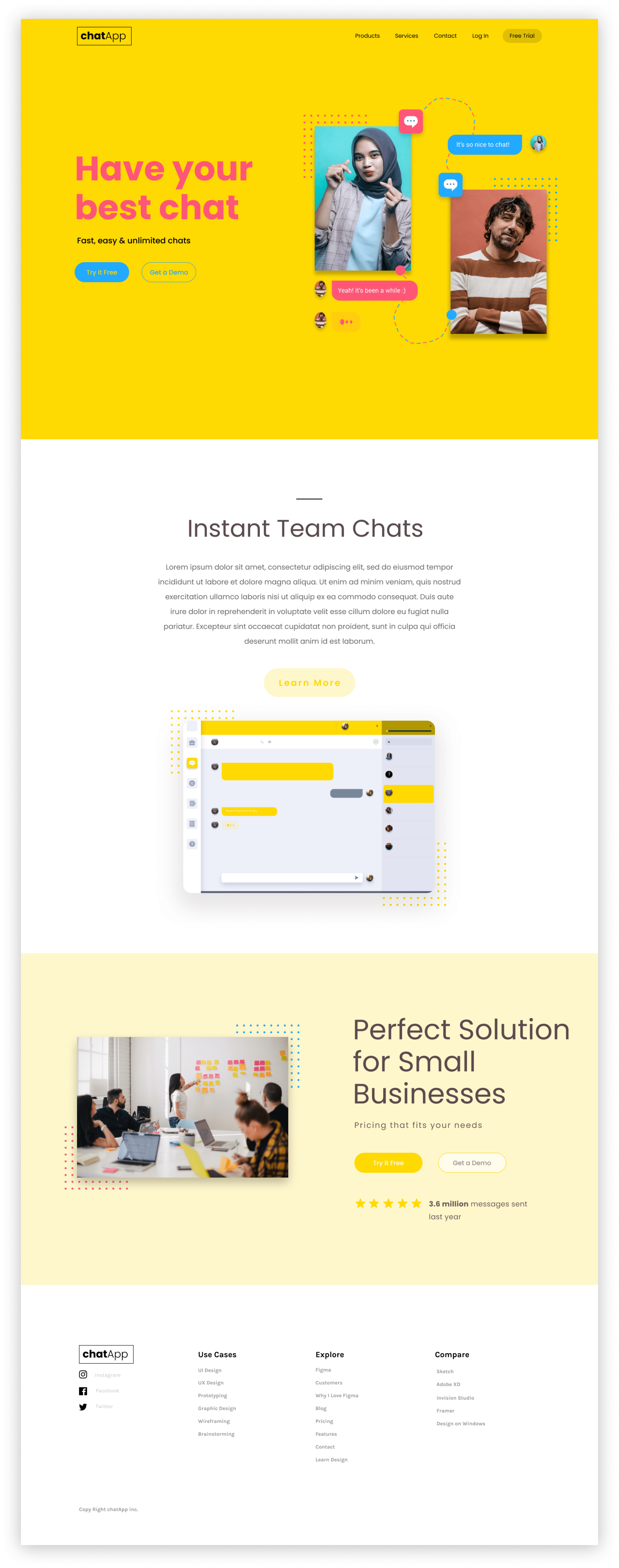 Screen Shot of the landing page for a chat app concept site.