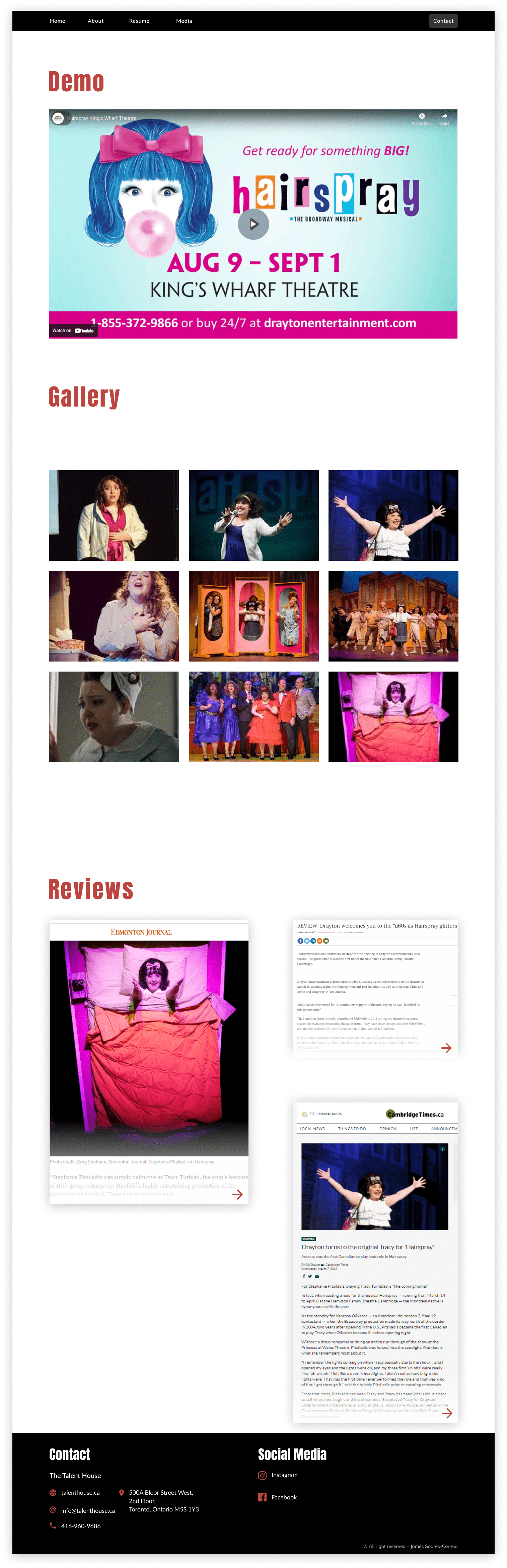 Screen shot of an actor's media page meant to showcase their demo reel, pictures of performances, and reviews of their work.