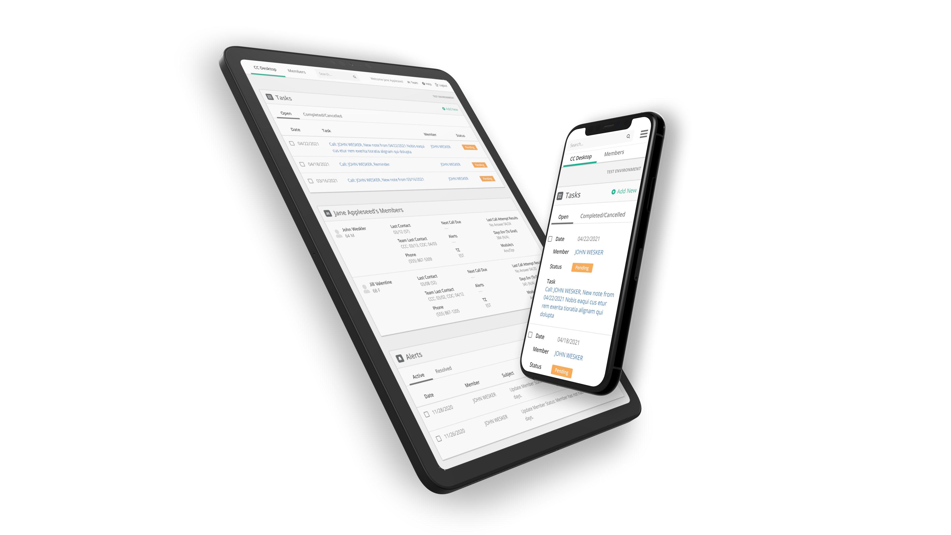 iPad & iPhone showcasing screenshots of the CRM software.