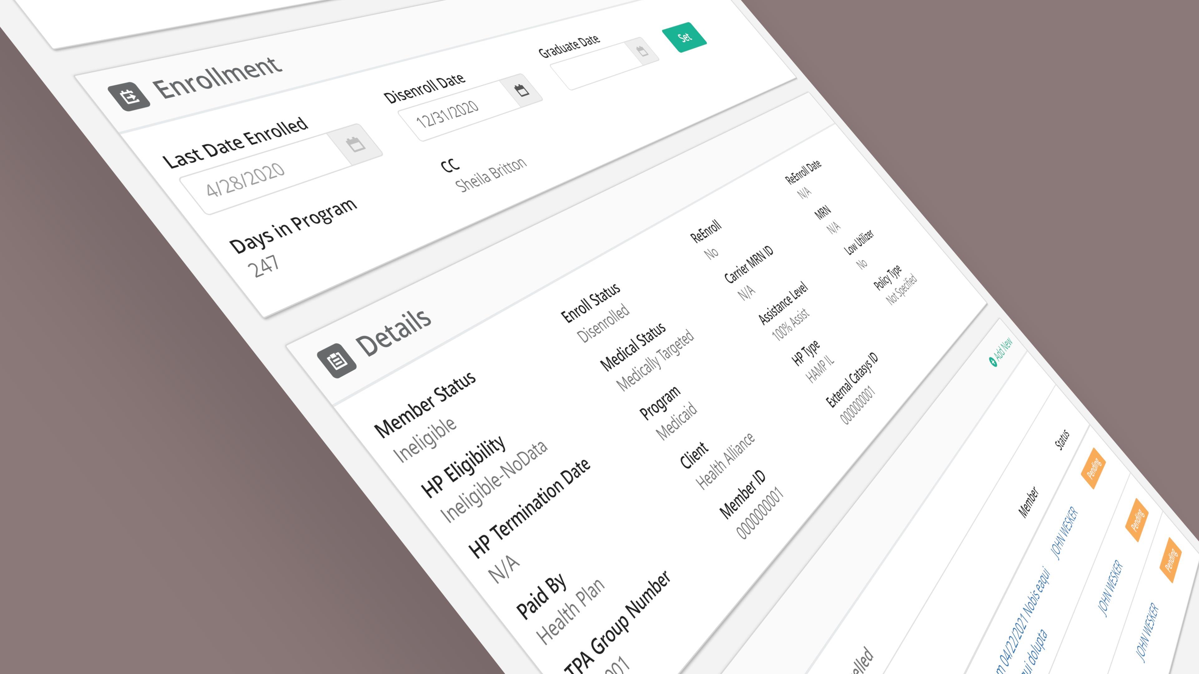 Desktop screenshot of the CRM software.