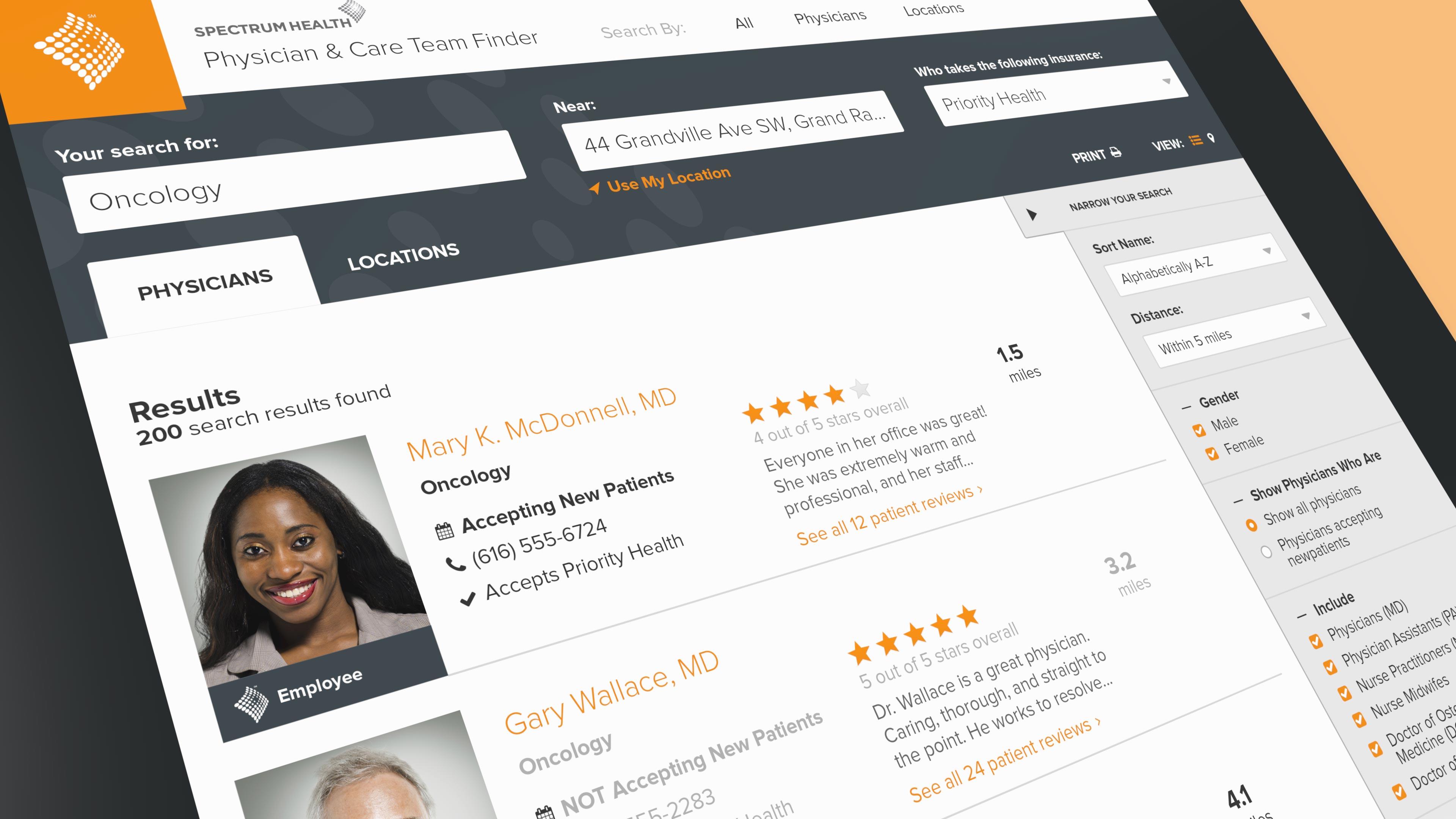 Screenshot of the Physician Finder website