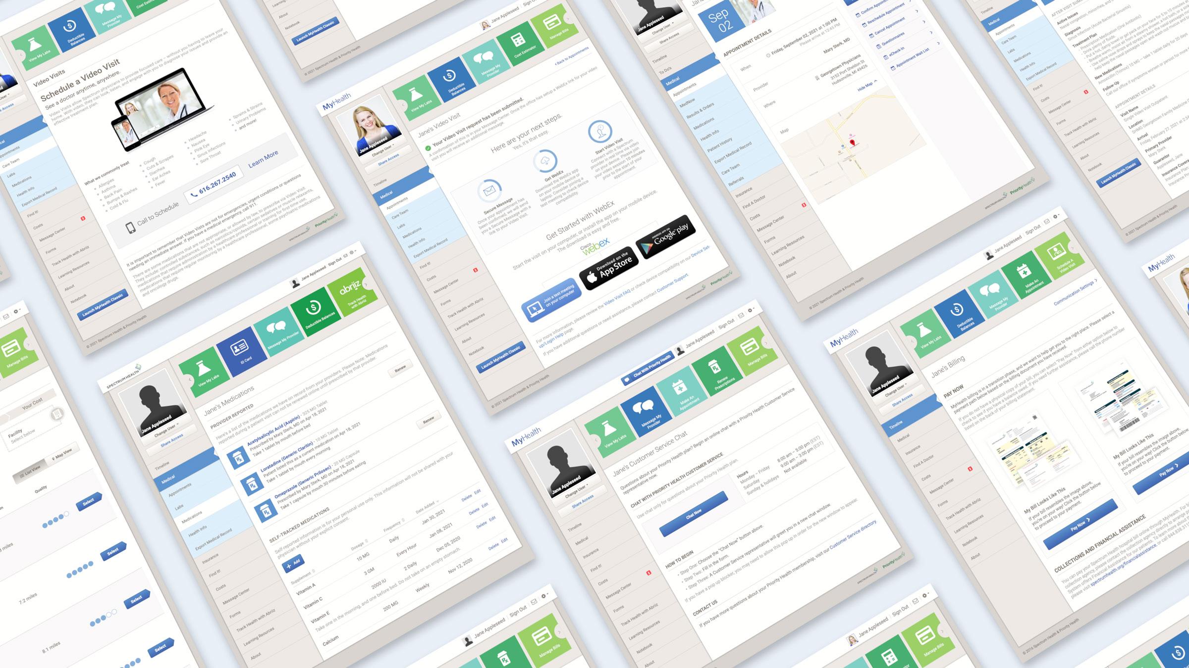 Various screenshots of the patient portal
