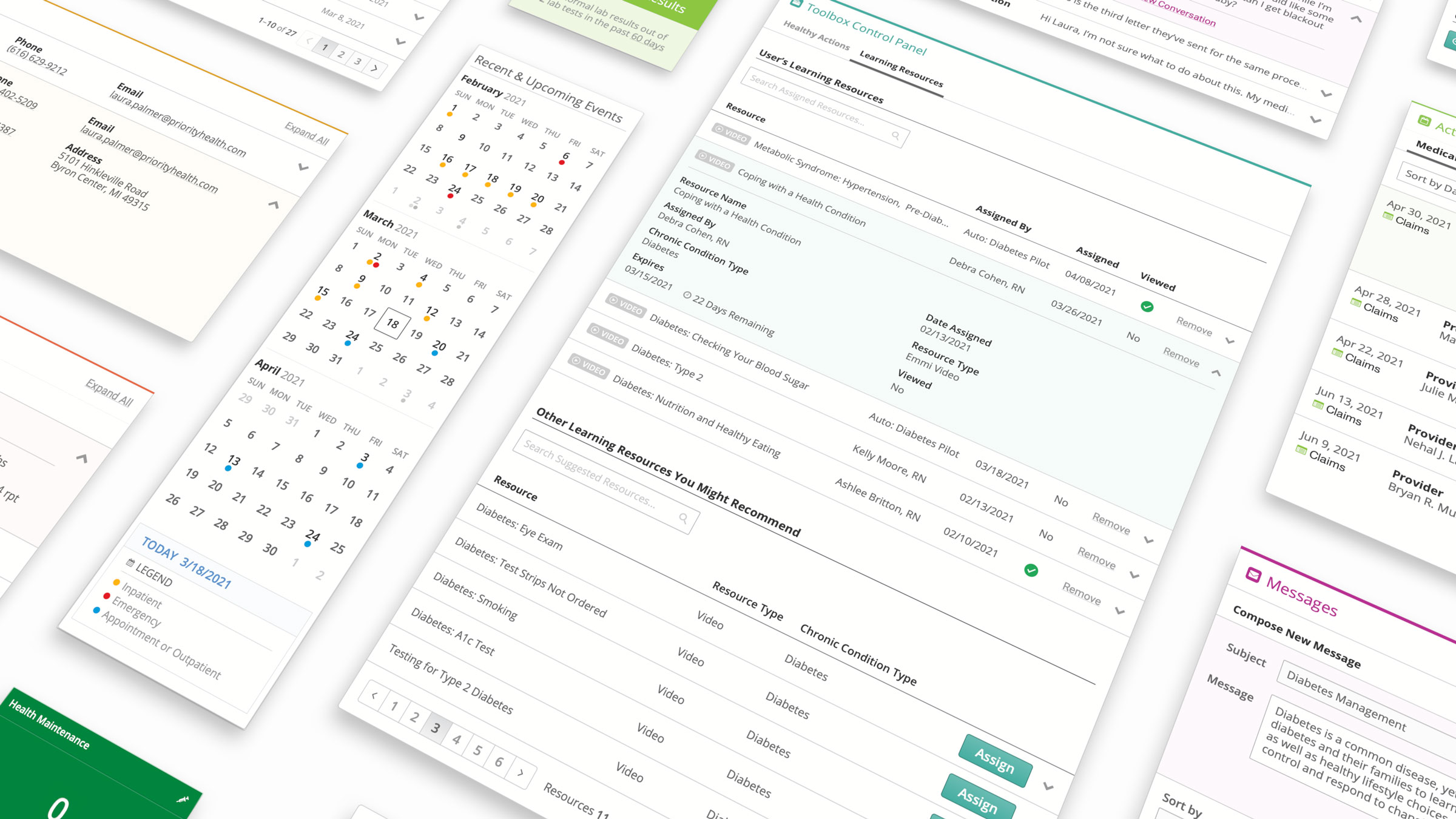 Various screenshots of the health care manager software.