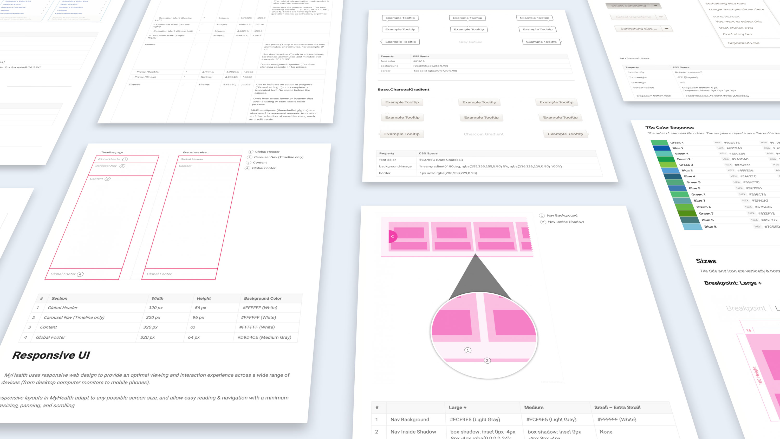 Various screenshots of the design system.