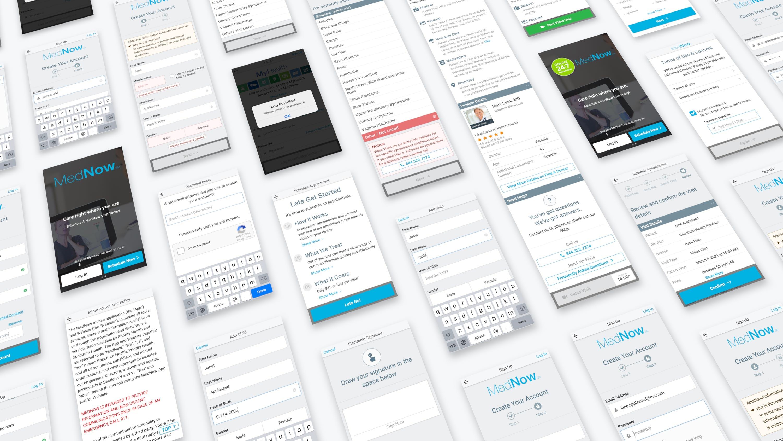 Various screenshots of the telemedicine app.