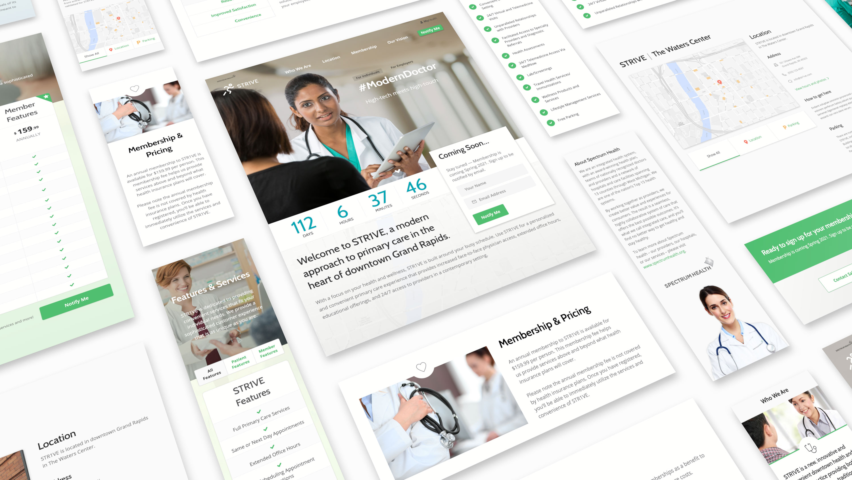 Various screenshots of the Primary Care Membership website.
