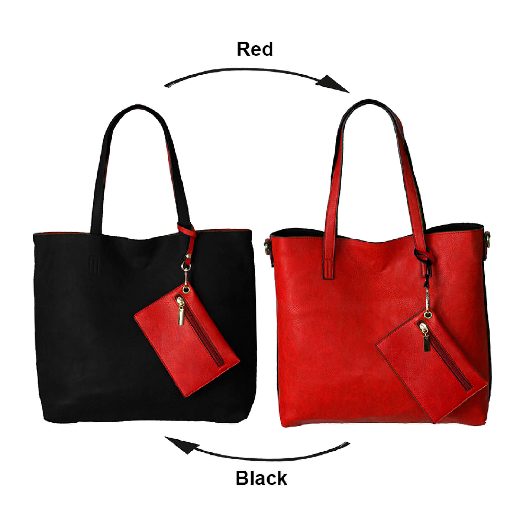 The BergsReversibles bag black and red colours combination.