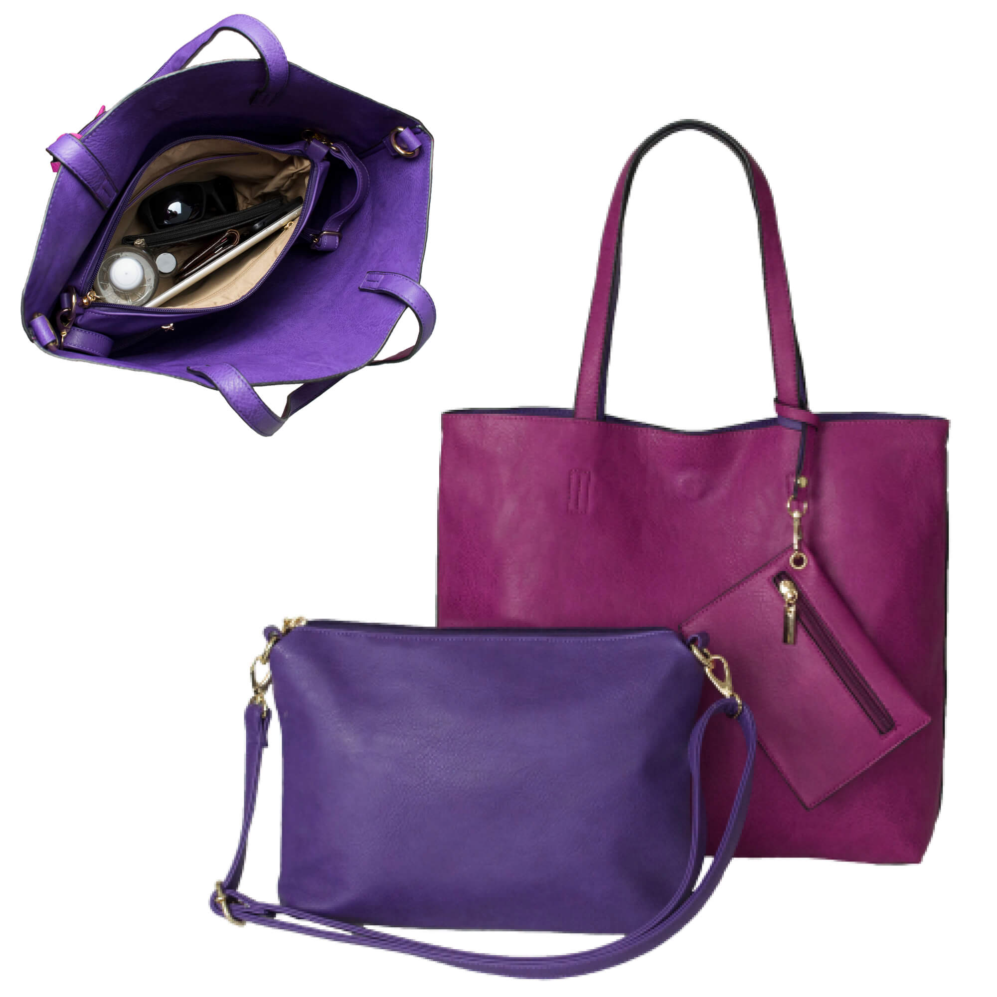 BergsReversibles set in pink and purple.