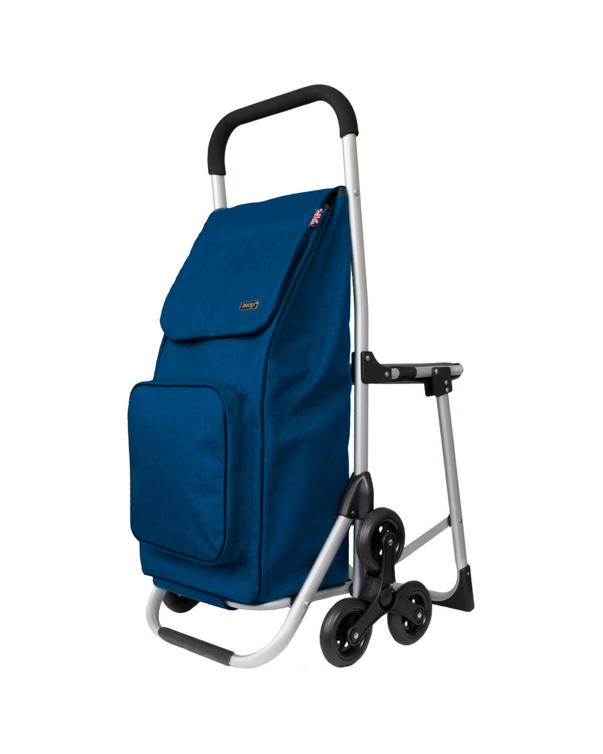 BergsCaddie Seat Trolley with 3 Wheels for Climbing Stairs Blue