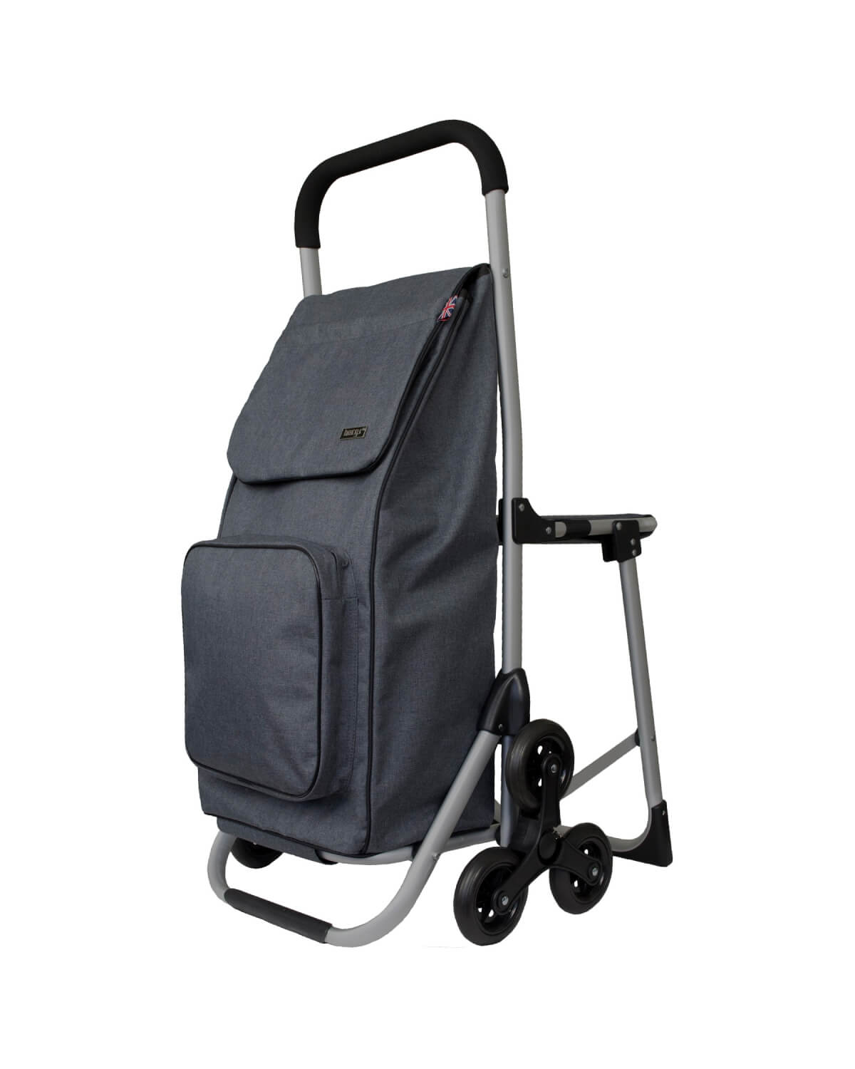 BergsCaddie Seat Trolley with 3 Wheels for Climbing Stairs Grey