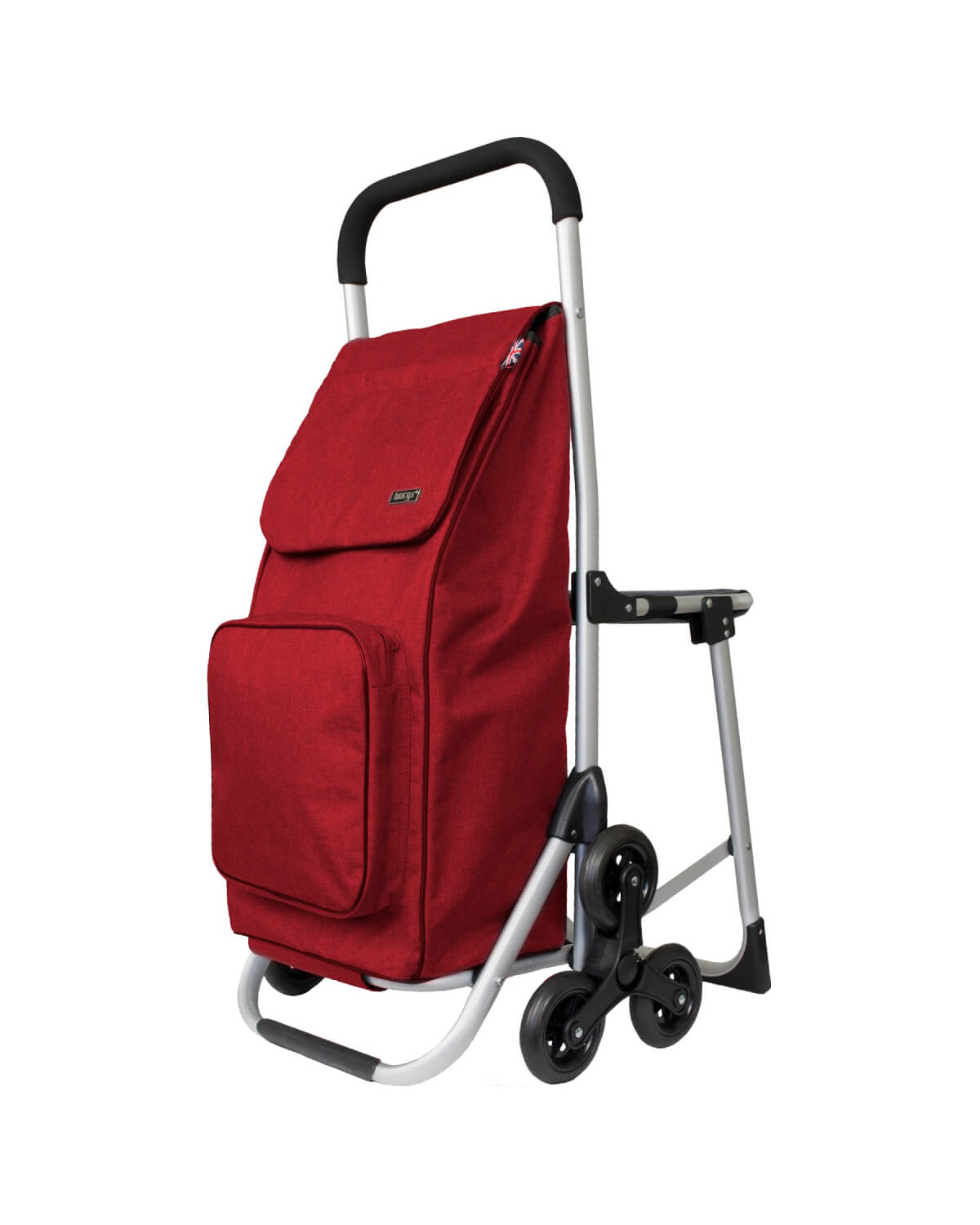 BergsCaddie Seat Trolley with 3 Wheels for Climbing Stairs Red