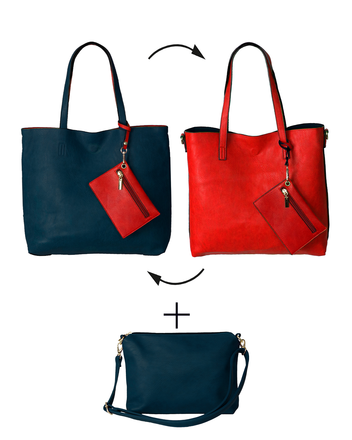 BergsReversible Women's Bag Set Faux Leather Navy/Red