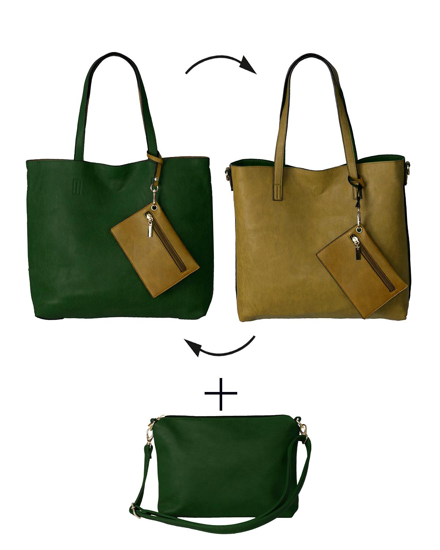 BergsReversible Women's Bag Set Faux Leather Green-Mustard
