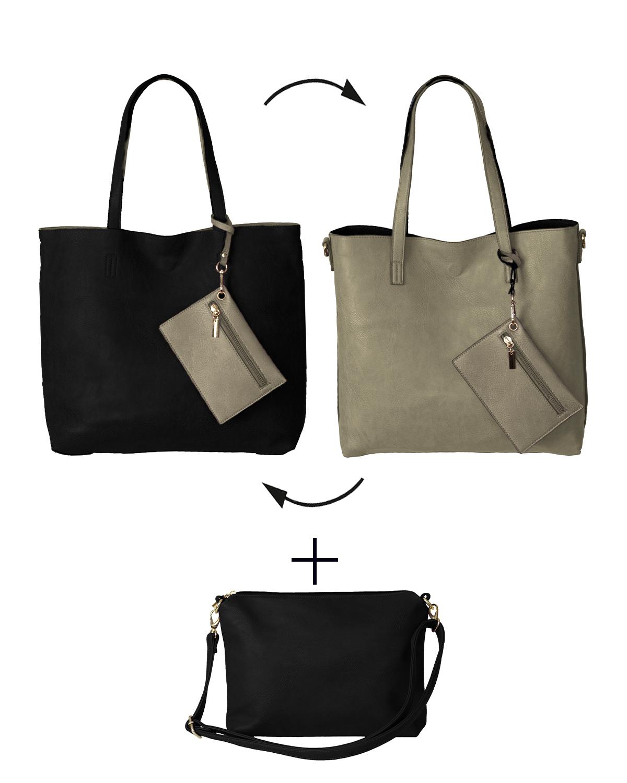 BergsReversible Women's Bag Set Faux Leather Black/Grey