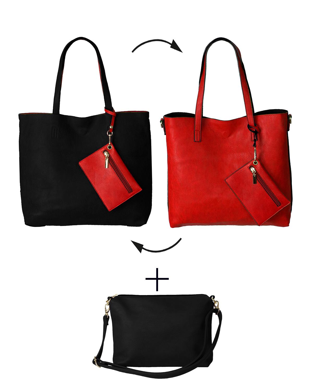 BergsReversible Women's Bag Set Faux Leather Black/Red