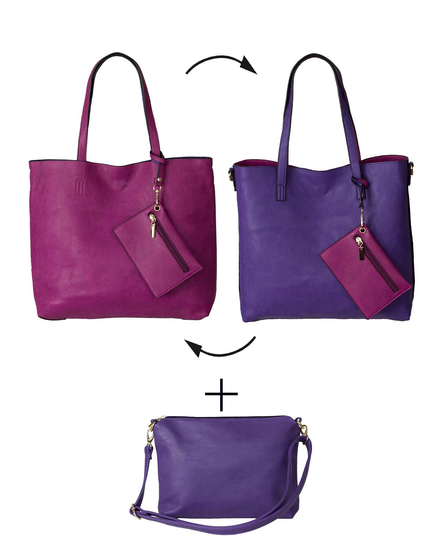 BergsReversible Women's Bag Set Faux Leather Pink/Purple