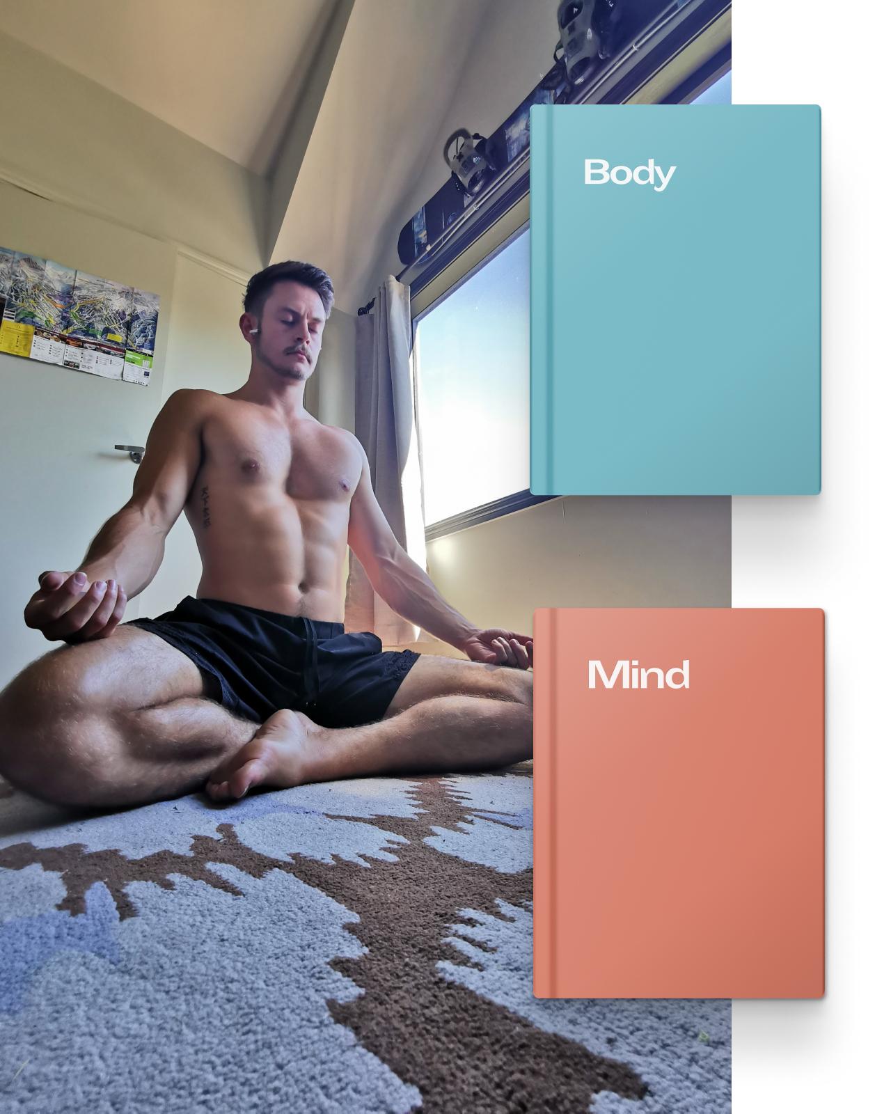 Man with pectus excavatum sitting cross legged meditating
